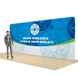 20ft 7×3 Straight Back Wall Display with Custom single sided Fabric Graphi